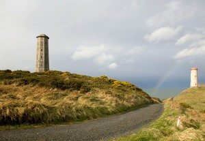 Wicklow Lighthouse with rainbow